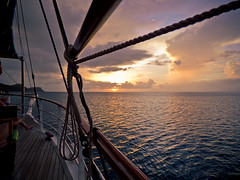 Sagitta Sunset (Lee Edwin Coursey) Tags: ocean travel cruise sunset vacation boat ship caribbean windjammer grenadines