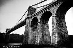 Menai bridge B&W (vickyalexander1983) Tags: bridge wales suspension north menai anglesey
