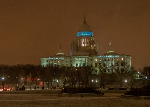 The RI State House lit for the inauguration festivities. Make It In RI. Photo by Jennifer Bedford.