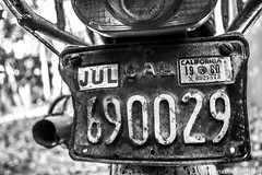 Old Plates (jnearyphotography) Tags: california old blackandwhite classic bike vintage plate licenseplate motorbike motorcycle 1980