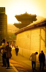 Outside Gyeongbokgung (1000images) Tags: travel sunset wall asia palace korea seoul southkorea gyeongbokgung    2014 gyeongbok
