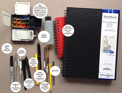 My current sketch kit, more or less... I thin I need to add a thicker brush. (suhita1) Tags: sketchkit