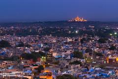 The Umaid Bhawan Palace as seen from Mehrangarh fort, Jodhpur, Rajasthan (Bharat Baswani) Tags: blue houses india heritage colors night twilight fort dusk culture palace incredible rajasthan jodhpur bhawan mehrangarh umaid