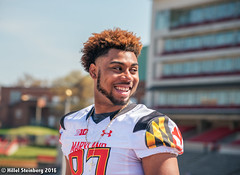 Maryland_White_on_Red_20160416_1768.jpg (hillels) Tags: park game college sports field sport photography one football spring team dj outdoor stadium maryland capitol practice terps byrd durkin collegepark testudo byrdstadium terp capitolonefield djdurkin