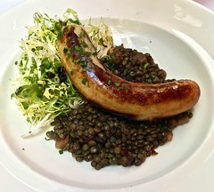 white sausage and lentils Cafe Claude (Fuzzy Traveler) Tags: sanfrancisco food french restaurant beans sausage meat lentils cafeclaude frisee