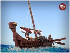 The Vikings are coming! (Macsen Wledig) Tags: sea england history water boat ship lego britain longboat minifigs raid vikings saxon moc darkages anglosaxon bricktastic bricktothepast