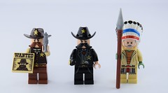 3 Guys evolution : Western (Alex THELEGOFAN) Tags: lego 3 guys suits western tribal chief cowboy sheriff gun lance wanted moustache