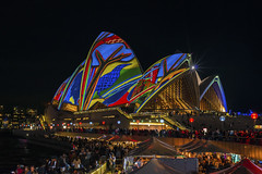 Blue Raven (merbert2012) Tags: longexposure nightphotography travel festival fun reisen nikon sydney australia lightshow sydneyharbour sydneyoperahouse worldheritagesites nikond800 vividsydney