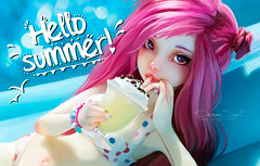 hello summer! (DreamSight) Tags: summer pink hair bjs msd raspberry nobledolls asella pastel cocktail swim water pool
