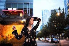 An urban delirium (Samir D) Tags: street light urban canada vancouver canon eos evening model downtown bc bokeh dusk britishcolumbia streetphotography northamerica vans sherry streetshot vancity urbanization 2016 markiii 35mm14 samird vancitybuzz