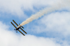 Great War Display Team - SE5a takes a 'hit'! (markhortonphotography) Tags: plane display aviation wwi airshow worldwari farnborough biplane fokker triplane fokkerdr1 farnboroughinternational greatwardisplayteam fia16