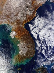 Snow Accumulation on the Korean Peninsula, December 2014 (sjrankin) Tags: china snow weather clouds russia edited korea nasa noaa usgs modis 250m seaofjapan yellowsea koreanpeninsula 13december2014