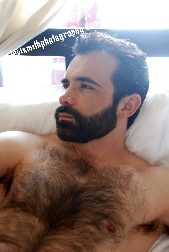 Man with beard hairy chest thank
