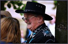 Candid cowboy close-up (* RICHARD M (5 million views)) Tags: street costumes senior portraits fun glasses cowboy candid smiles dude portraiture specs cowboyhat spectacles southport stetson oap merseyside pensioner sefton rhinestonecowboy cowboyclothes oldcowhand