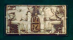 Phoenician Ivory furniture appliques depicting two individuals in royal Egyptian attire found in Nimrud 9th-8th centuries BCE (mharrsch) Tags: england london carved furniture ivory britishmuseum applique phoenician assyrian nimrud 8thcenturybce egyptianmotif 9thcenturybce mharrsch