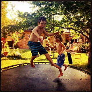 365/326 • evening action on the wet trampoline - Alfie and Daisy - a game of cricket in the background • #2014_ig_326 #friends #4yo #backyard #almostsummer #sundayafternoon @dettestarlala 💕