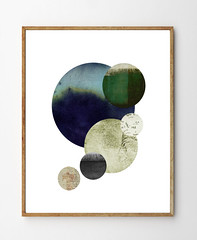 Gravity by Stellaire Studio (StellaireStudio) Tags: blue abstract green art vintage watercolor painting mixedmedia space gray surreal stellar gravity planet watercolour planets minimalist celestial spaceart bookpage tectures stellaire stellairestudio