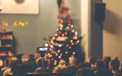Recording the moments (Christmas Musical Play) (Charlotte90T) Tags: christmas light mobile shop hall play phone audience bokeh tripod musical ornaments gift stick recording twinkling monopod iphone