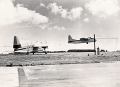 Silver City Bristol 170s, Lydd, 1950s (Proplinerman) Tags: 1955 bristol aircraft airliner silvercity lydd ferryfield propliner bristolfreighter bristol170 superfreighter gamwe gagvc