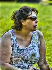 Smoke Break (swong95765) Tags: woman grass reflecting break cigarette smoke smoking seated
