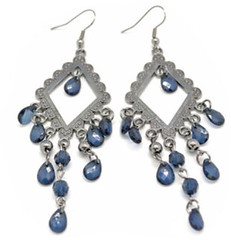Limited Blue Crystals on Ornate Frame Earrings P9040C