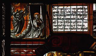 Patrixbourne, Kent, St. Mary's, chancel, stained glass window, nativity scene with shepherds & magi, detail