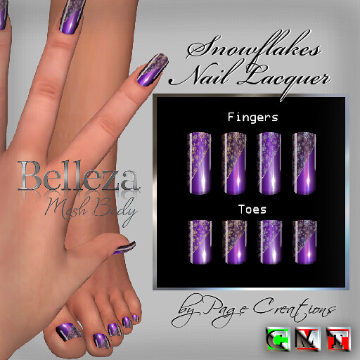 ღ ♡ Nail Lacquers For Belleza ♡ ♡ ღ Snowflakes Purple by Page Creations™