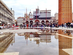 Piazza San Marco and The Basilica of San Marco Venice, Italy (peggyhr) Tags: venice people italy reflections flooding belltower marble highwater dogespalace stmarkssquare iphone piazasanmarco 25faves outdoorrestaurants peggyhr thebasilicaofsanmarco img8739a