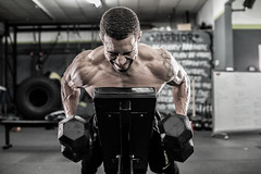 Theo working the weights (JM Clark Photography (jamecl99)) Tags: portrait muscles exercise workout fitness weights dumbbells lats
