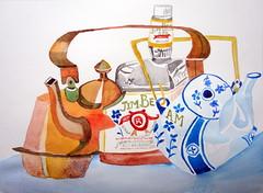Two kettles and a bottle 02, by Catie - DSC06475 (Dona Mincia) Tags: stilllife abstract art watercolor painting paper bottle arte kettle study abstrato garrafa deconstruction pintura aquarela chaleira naturezamorta desconstruo