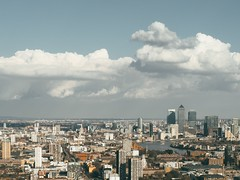 Docklands & Canary Wharf (aridleyphotography.com) Tags: city uk england urban london skyline clouds digital cityscape unitedkingdom olympus docklands dslr canarywharf cloudscape eastlondon vsco olympusuk vscofilm olympusomd olympusomdem10