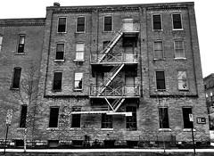 Fire Escape, Argus Building (Dennis Sparks) Tags: blackwhite michigan annarbor fireescape argusbuilding