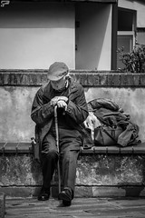 alone (Frank Perrucci) Tags: old italy man solitude alone liguria luggage wait abbandoned