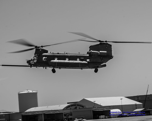 Black & White of Landing MH-47G at Paine Field