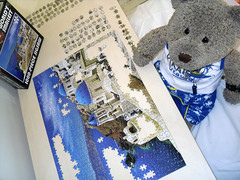 Day 4...Comin' along nicely (pefkosmad) Tags: bear blue vacation white holiday ted church buildings toy island vacances stuffed soft teddy fluffy hobby plush puzzle santorini greece leisure jigsaw greekislands griechenland cyclades pastime 1000pieces worldssmallest tedricstudmuffin cheatwellgames
