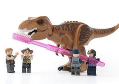 Dental hygiene is very important at Jurassic World (tomtommilton) Tags: lego minifigures dinosaur tyrannosaurus rex trex jurassicpark jurassicworld dental hygiene toothbrush toothpaste macro afol toy toyphotography