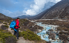 Trekking to Chukhung (no use for a name...) Tags: nepal travel mountain mountains himalaya himalayas backpacking asia sagamartha national park everest case camp trek trekking base ebc hiking summit peak cloud clouds cloudy landscape trekker river stream brook valley