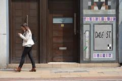 Texting, 1 Dale Street, Northern Quarter, Manchester, England. (westport 1946) Tags: england girl architecture female manchester one 1 women northernquarter doors unitedkingdom outdoor pavement citylife streetphotography streetscene sidewalk doorway architektur citycentre texting cityscene dalestreet urbanscene manchesterstreets