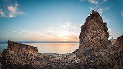 Magical Dead sea (Mr.D800) Tags: trip travel blue sea panorama orange water clouds rocks view jordan deadsea bight 2016