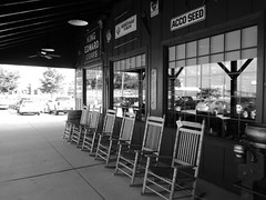 Empty Rockers at Cracker Barrel (pikespice) Tags: blackandwhite bw monochrome geotagged blackwhite geotag crackerbarrel emptychair werehere 10millionphotos hereios
