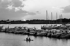Town River Bay sunset (alohadave) Tags: bay blackwhite effects massachusetts northamerica pentaxk5 places puffyclouds quincy sky sunset townriverbay townriveryachtclub unitedstates water smcpda1650mmf28edalifsdm