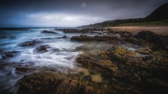 Contrasts of Landscape (Augmented Reality Images (Getty Contributor)) Tags: canon clouds coastline landscape leefilters longexposure morayshire rocks scotland seascape seaweed sunnysidebeach tide water waves
