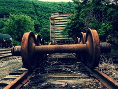 Parallel Lines in Rust (Professor Bop) Tags: professorbop drjazz olympusem1 bellowsfallsvermont vt railroad railway tracks boxcar decay rust wheels parallellines mosca train track