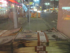 Narcos Bus Shelter Pile O Money AD 5220 (Brechtbug) Tags: narcos tv show bus stop shelter ad with piles slightly singed real fake money or is it 2016 nyc 09102016 midtown manhattan new york city 49th street 7th ave st avenue moola bogus