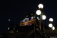 Qubec au clair de lune (Marie-Jose Lvesque) Tags: qubec vieuxqubec canada chateaufrontenac hotel oldtownquebec night soir nightshot lune moon soire lights summertime 2016 explore