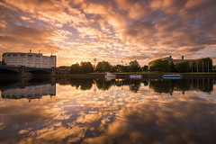 River Trent Reflections (Tracey Whitefoot) Tags: tracey whitefoot 2016 nottingham nottm notts reflection reflections river trent embankment bridge county hall sunrise dawn morning gold golden nottinghamshire