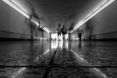 Human tracks (Tilemachos Papadopoulos) Tags: qoq tube urban underground fujinon fujifilm fuji infrastructure mono monochrome people athens abstract street dark dusk greece lines light xt10 contrast vanishingpoint bw blackandwhite black mirrorless