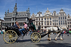 Brussels - La grand place (JOAO DE BARROS) Tags: barros joo belgium brussels street wagon horse square people