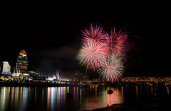 Fireworks on the Ohio River after a Cincinnati Reds game. (donnieking1811) Tags: ohio cincinnati fireworks ohioriver river rivers cincinnatireds nightime reflections canon 60d