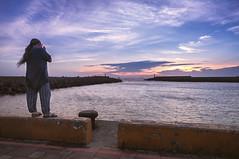 Playing Harmonica In The Wind (Picocoon) Tags: sunset sea twilight dock play wind taiwan harmonica tamsui